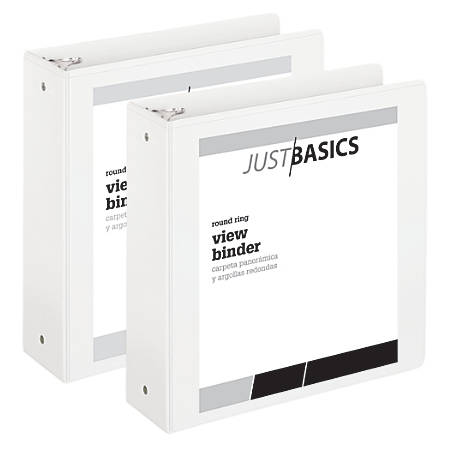 """Just Basics Economy Round-Ring View Binders, 3"""" Rings, 61% Recycled, White, Pack Of 2 Binders"""