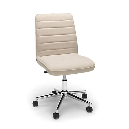 Essentials By OFM Mid-Back Desk Chair, Fabric, Tan/Chrome