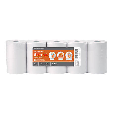"""Office Depot® Thermal Paper Rolls, 2 1/4"""" x 50', White, Pack Of 10"""