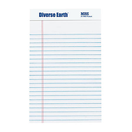"""Diverse Earth Recycled Legal Pad, Legal Jr. Size, White, 5""""x8"""""""