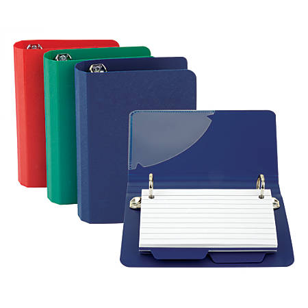 Oxford® Index Card File Binder, 50-Card Capacity, Assorted Colors