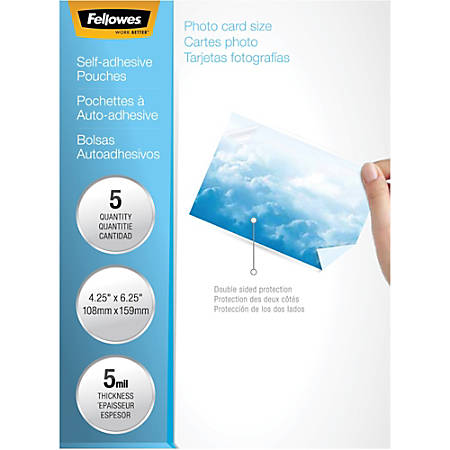 "Fellowes Self-Adhesive Pouches - Photo, 5mil, 5 pack - Laminating Pouch/Sheet Size: 6.25"" Width x 4.25"" Length x 5 mil Thickness - Type G - Glossy - for Document, Photo, Luggage Tag - Self-adhesive, Durable - Clear - 5 Pack"