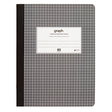 "Office Depot® Brand Quad Composition Book, 9 3/4"" x 7 1/2"", Quadrille Ruled, 80 Sheets"