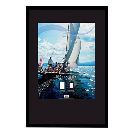 "Uniek Gallery Poster Frame, 24"" x 36"", Matted For 18"" x 24"", Black"