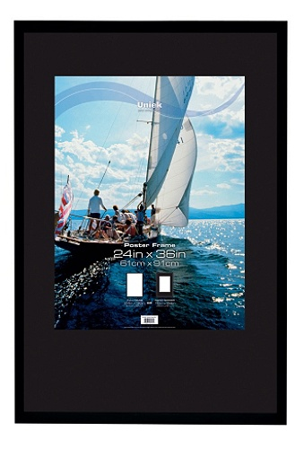 Uniek Gallery Poster Frame 24 X 36 Matted For 18 X 24 Black Office