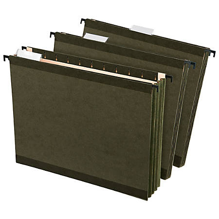 "Office Depot® Hanging Pockets With Full-Height Gussets, Letter Size (8-1/2"" x 11""), 3 1/2"" Expansion, Green, Pack Of 4"
