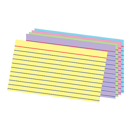 "Office Depot® Brand Ruled Rainbow Index Cards, 3"" x 5"", Assorted Colors, Pack Of 100"