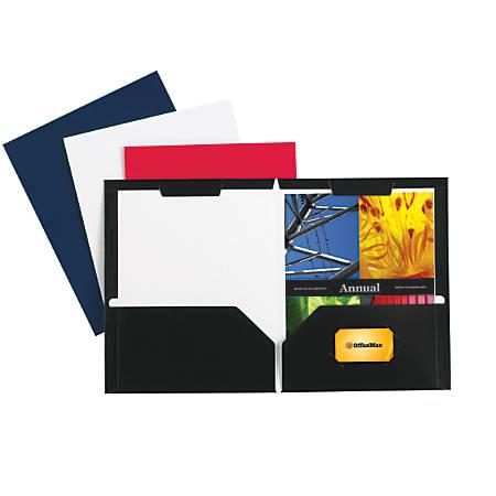 Office Depot® Brand Secure Top 2-Pocket Folders, Black, Pack Of 10