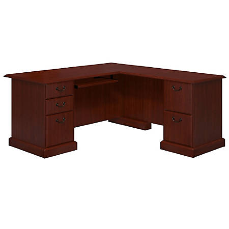 kathy ireland® Office by Bush Business Furniture Bennington L Shaped Desk, Harvest Cherry, Standard Delivery
