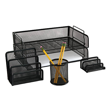 Officemax 5 Piece Mesh Desk Accessory