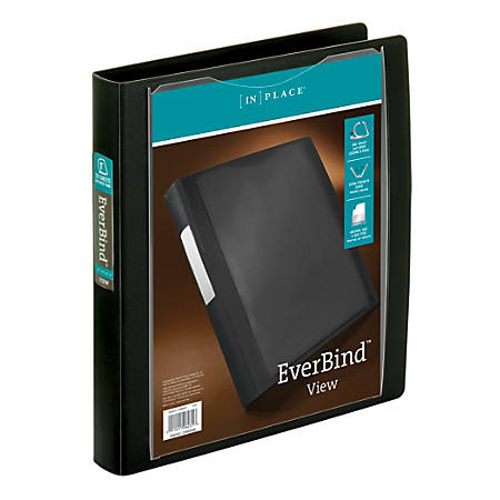 "Office Depot® Brand EverBind View Binder With One-Touch EasyOpen Locking D-Ring, 1"" Rings, Black Smoke"