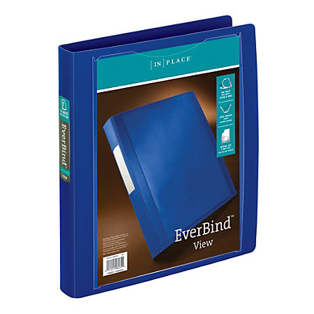 """Office Depot® Brand EverBind View Binder With One-Touch EasyOpen Locking D-Ring, 1"""" Rings, Blue"""
