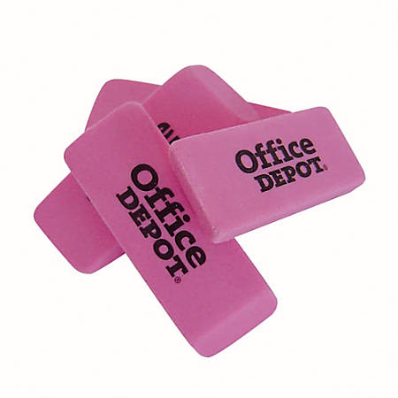 Office Depot® Brand Pink Bevel Erasers, Small, Box Of 36