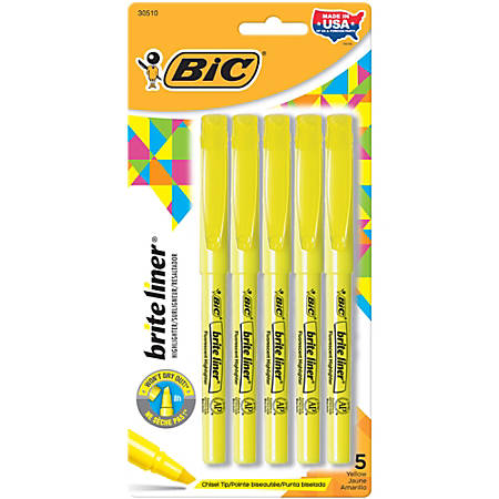 BIC® Brite Liner Highlighters, Chisel Point, Yellow, Pack Of 5 Highlighters