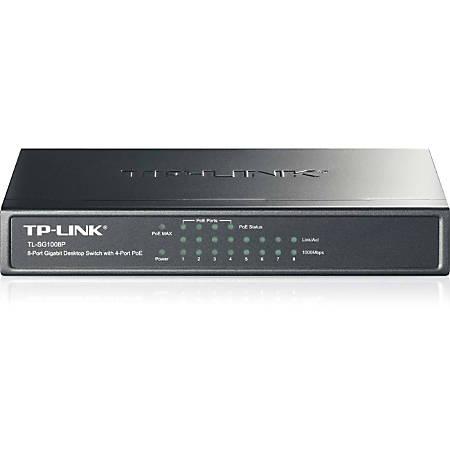 TP-LINK TL-SG1008P 8-Port Gigabit Desktop POE Switch with 4 PoE Ports - 8 Ports - 4 x POE - 4 x RJ-45 - 10/100/1000Base-T - Desktop