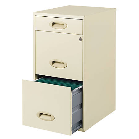 "Realspace® SOHO 18""D Vertical 3-Drawer File Cabinet, Metal, Soft White"