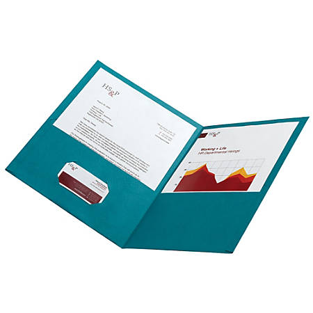 Office Depot® Brand Leatherette Twin-Pocket Portfolios, Teal, Pack Of 10