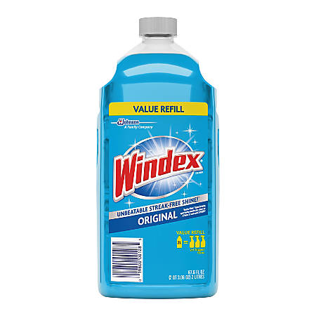 Diversey Windex Original Glass Cleaner Refill - Ready-To-Use Spray - 0.53 gal (67.63 fl oz) - Fresh Scent - 1 Each - Blue