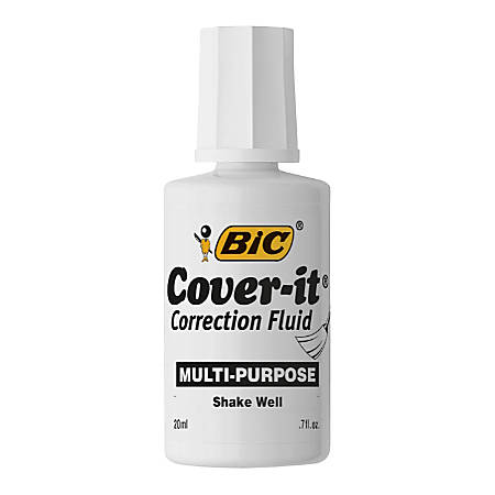 BIC Cover-it Correction Fluid - 0.68 fl oz - White - Fast-drying - 1 Each