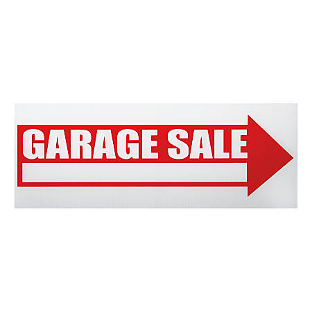 """Cosco® """"Garage Sale"""" Sign With Stake Kit, 6"""" x 17"""", Red/White"""