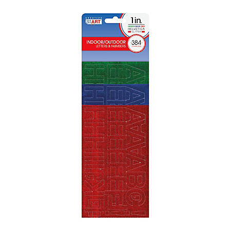 "Creative Start® Self-Adhesive Letters, Numbers and Symbols, 1"", Helvetica, Glitter Green, Blue and Red, Pack of 384"