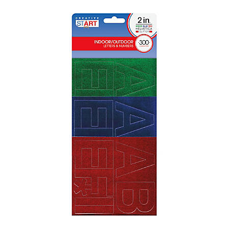 """Creative Start® Self-Adhesive Characters, Letters And Numbers, 2"""", Helvetica, Assorted Glitter Colors, Pack Of 300"""