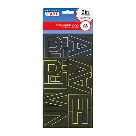 """Creative Start® Self-Adhesive Characters, Letters And Numbers, 2"""", Helvetica, Assorted Metallic Colors, Pack Of 200"""