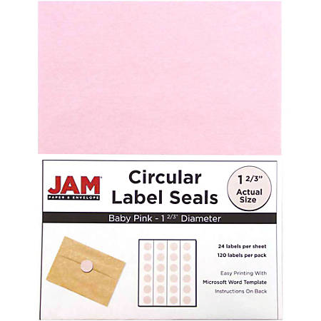 "JAM Paper® Circle Labels, 147628279, 1 5/8"", Baby Pink, 24 Labels Per Sheet, Pack Of 5 Sheets"