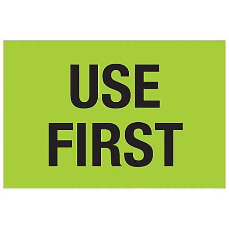 """Tape Logic® Preprinted Special Handling Labels, DL1136, Use First, Rectangle, 2"""" x 3"""", Fluorescent Green, Roll Of 500"""