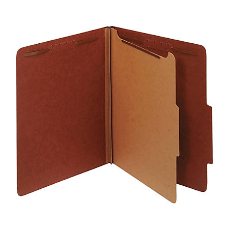 """Office Depot® Brand Classification Folders, 1 3/4"""" Expansion, Letter Size, 1 Divider, 60% Recycled, Red, Pack Of 5 Folders"""