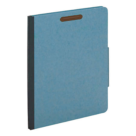 "Office Depot® Brand Classification Folders, 2 1/2"" Expansion, Letter Size, 2 Dividers, 60% Recycled, Blue, Pack Of 5 Folders"