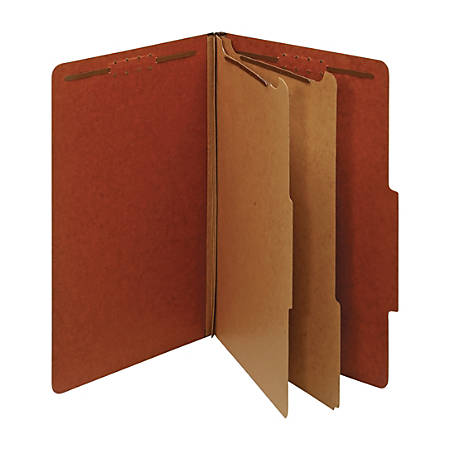 "Office Depot® Brand Classification Folders, 2 1/2"" Expansion, Legal Size, 2 Dividers, 60% Recycled, Red, Pack Of 5 Folders"