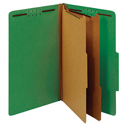 """Office Depot® Brand Classification Folders, 2 1/2"""" Expansion, Legal Size, 2 Dividers, 100% Recycled, Light Green, Pack Of 5 Folders"""