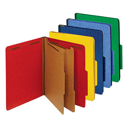 Office Depot® Brand Classification Folder, Letter, 2 Dividers, Embedded Fasteners, Assorted Colors, Pack Of 5 Folders