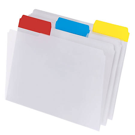 Office Depot® Brand Top Tab Poly File Folders, Letter Size, Clear With Assorted Color Tabs, Box Of 15