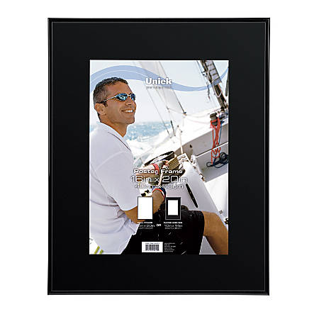 "Uniek Regal Poster Frame, Black, 16"" x 20"", Matted For 10"" x 14"", Black"