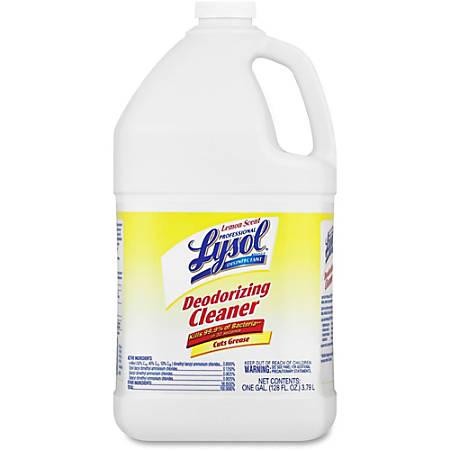 Lysol Disinfectant Deodorizing Cleaner - Liquid - 1 gal (128 fl oz) - Lemon Scent - 4 / Carton - Yellow