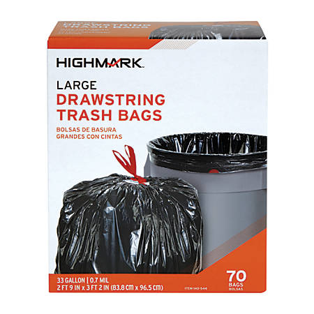 Highmark™ Trash Bags, 33 Gallons, Box Of 70 Bags