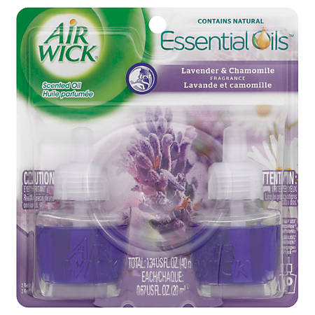 Air Wick Scented Oil Warmer Refills, Lavender And Chamomile, 0 67 Oz, Pack  Of 2 Warmers Item # 140587