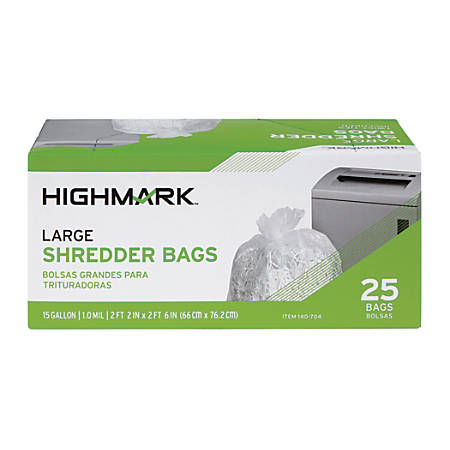 Highmark™ Shredder Bags, 1 mil, 15 Gallons, Clear, Box Of 25