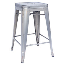 Lorell Metal Stool Wooden Seat 24