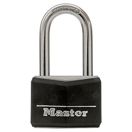 "Master Lock Long Shackle Steel Padlock, 1 9/16"", Black"