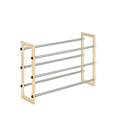 "Honey-can-do SHO-01372 3-Tier Expandable Stackable Shoe Rack, Metal and Wood - 30 x Shoes - 2 Compartment(s) - 3 Tier(s) - 18"" Height x 7"" Width x 46"" Depth - Metal, Bamboo"