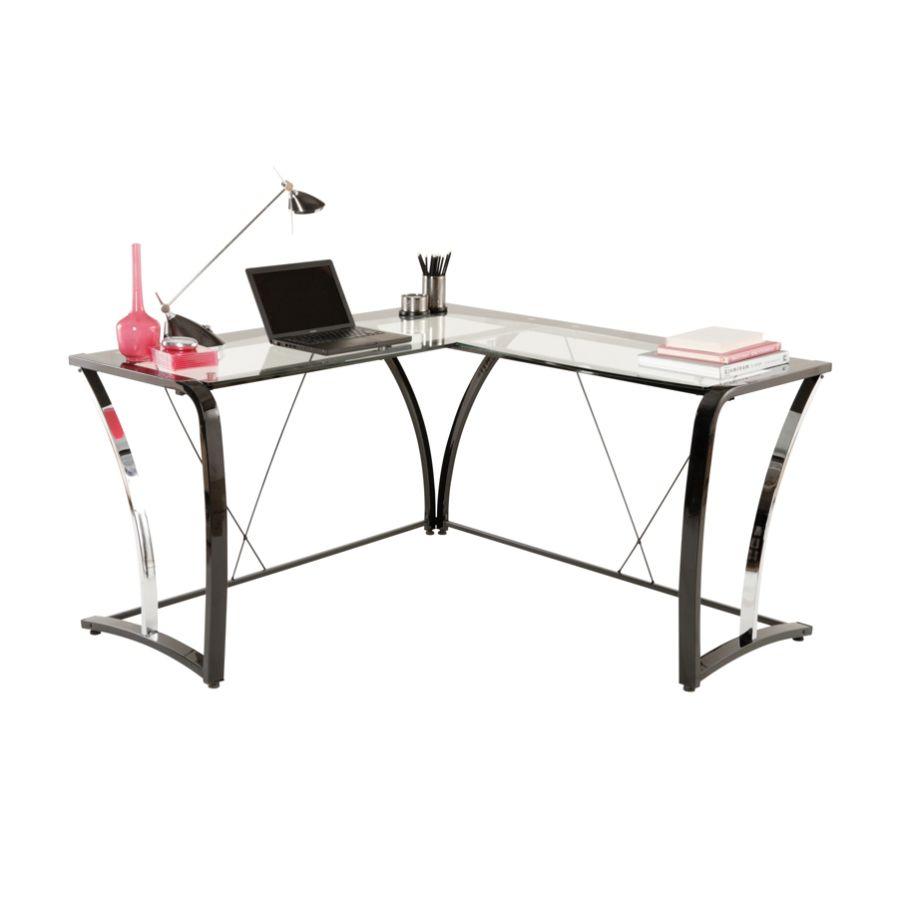 Brenton Studio Evanti Glass L Desk by Office Depot OfficeMax
