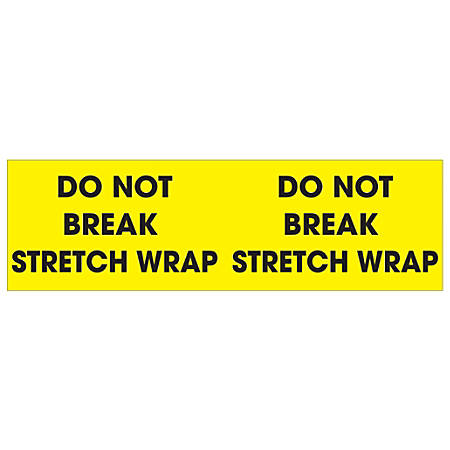 "Tape Logic® Preprinted Pallet Protection Labels, DL1196, 3"" x 10"", ""Do Not Break Stretch Wrap"", Fluorescent Yellow, Roll Of 500"