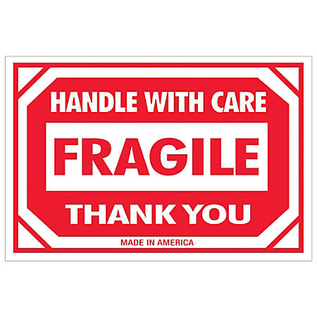 """Tape Logic® Preprinted Shipping Labels, DL1053, Fragile — Handle With Care, Rectangle, 2"""" x 3"""", Red/White, Roll Of 500"""