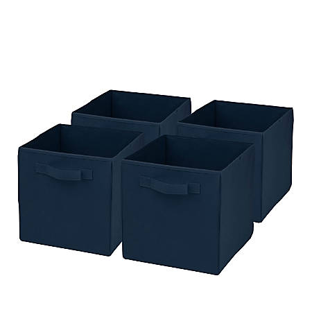 """Honey-Can-Do Non-Woven Foldable Cubes, 11 1/2""""H x 10 5/8""""W x 10 5/8""""D, Navy, Pack Of 4"""