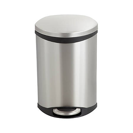 """Safco® Stainless Steel Step-On Medical Waste Receptacle, 3 Gallons, 17"""" x 12"""" x 8 1/2"""", Stainless Steel"""