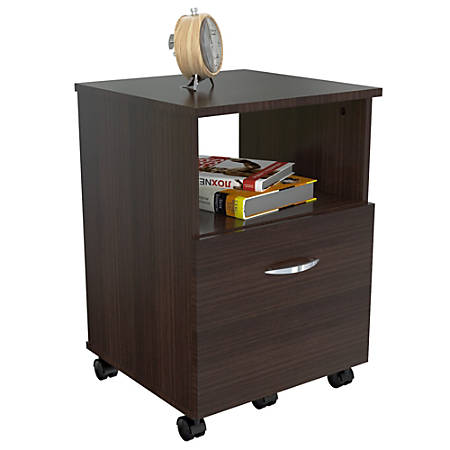"Inval Mobile File Cabinet, 1 Drawer, 23""H x 15 2/3""W x 15 2/3""D, Espresso Wengue"