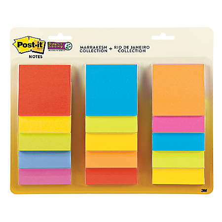 "Post-it® Super Sticky Notes, 3"" x 3"", Assorted Colors, Pack Of 15 Pads"